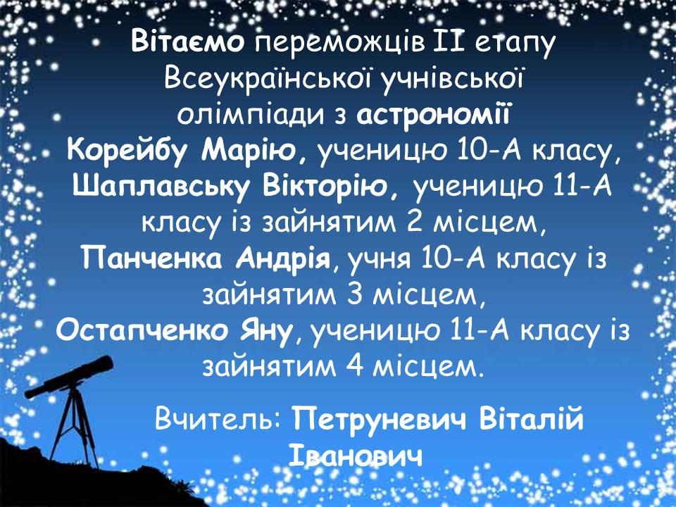 Вітаємо переможців ІІ етапу Всеукраїнської учнівської